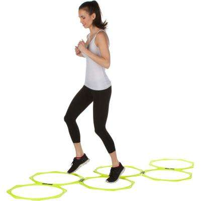 20 in. Light Green Hexagonal Speed and Agility Training Rings with Carry Bag (Set of 6)
