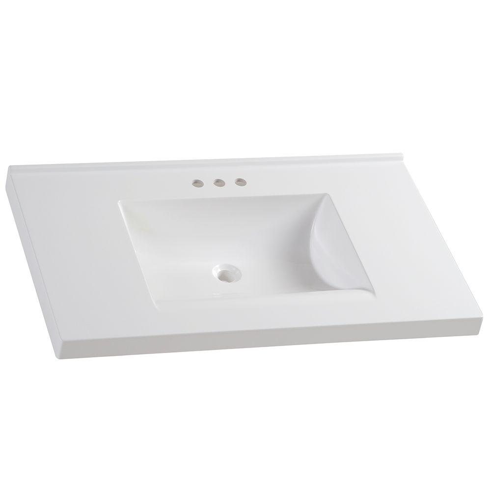 D Cultured Marble Vanity Top In White With Sink