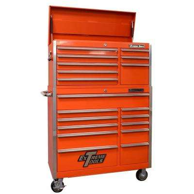 EX Standard Series 41 in. 19-Drawer Top Chest and Roller Cabinet Combo, Orange