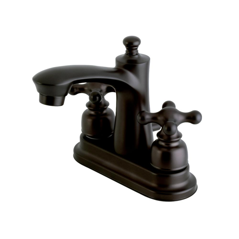Kingston Brass Victorian Oil Rubbed Bronze Black Widespread Bathroom Faucet Cross Handle: Kingston Brass Victorian 4 In. Centerset 2-Handle Bathroom Faucet In Oil Rubbed Bronze-HFB7625AX