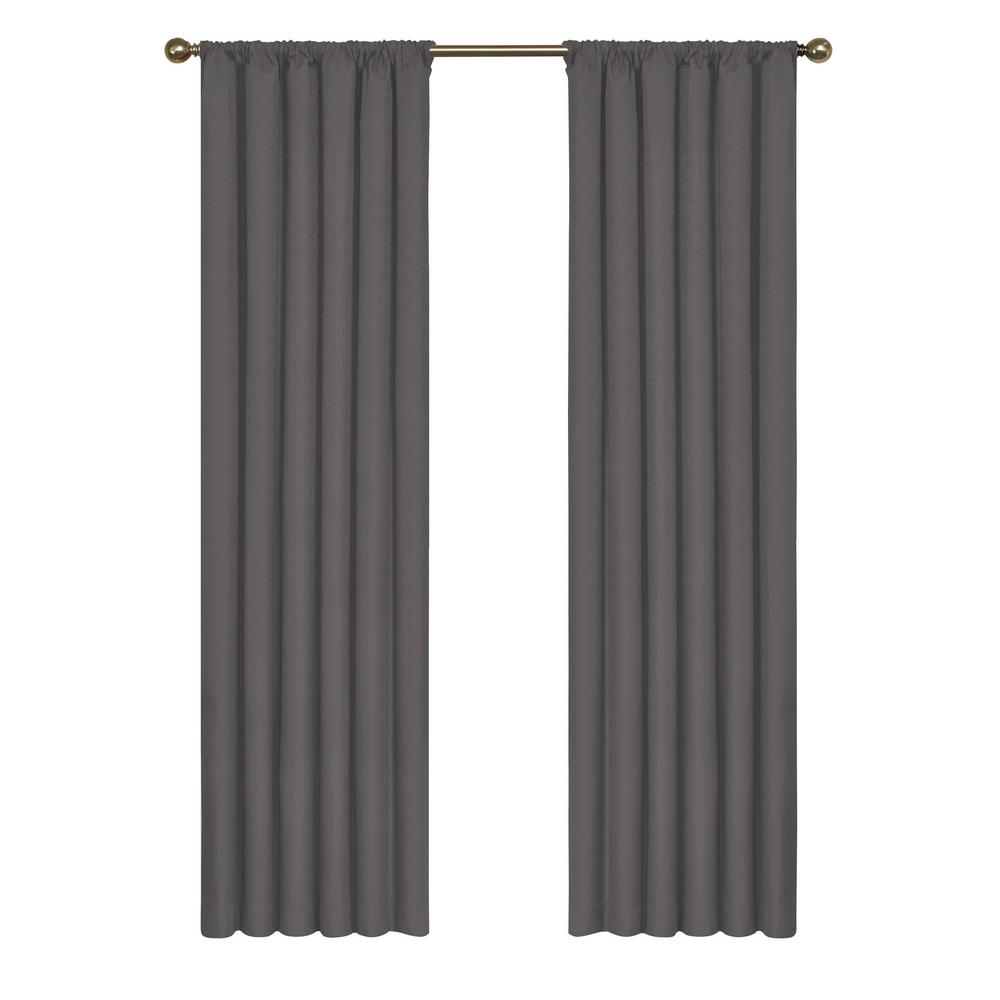 Eclipse Kendall Blackout Window Curtain Panel in Charcoal - 42 in. W x 63 in. L