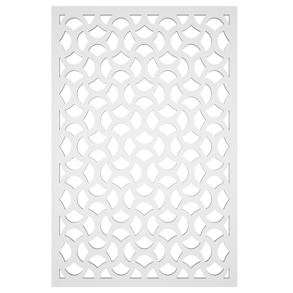 Casablanca 32 in. x 4 ft. White Vinyl Decorative Screen Panel