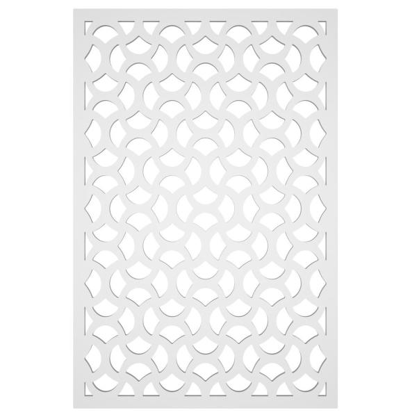 Casablanca 32 in. x 4 ft. White Vinyl Decorative Screen Panel