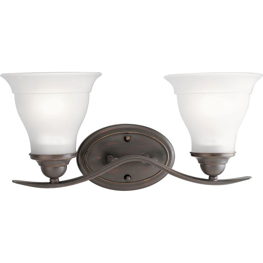 Progress Lighting Trinity Collection 2-Light Antique Bronze Vanity Light with Etched Glass Shades