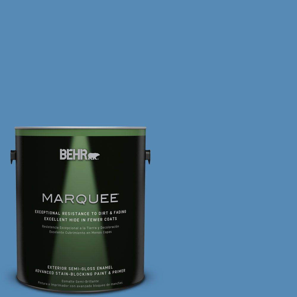 1-gal. #M520-5 Alpha Blue Semi-Gloss Enamel Exterior Paint