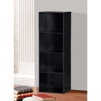 4-Shelf, 47 in. H Black Bookcase