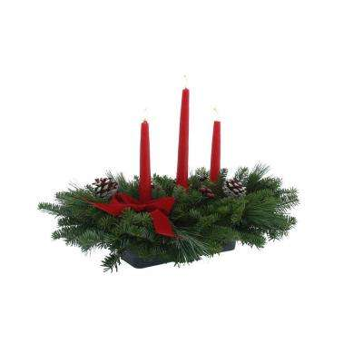 Balsam Fir Classic 3 Candle Fresh Centerpiece : Multiple Ship Weeks Available