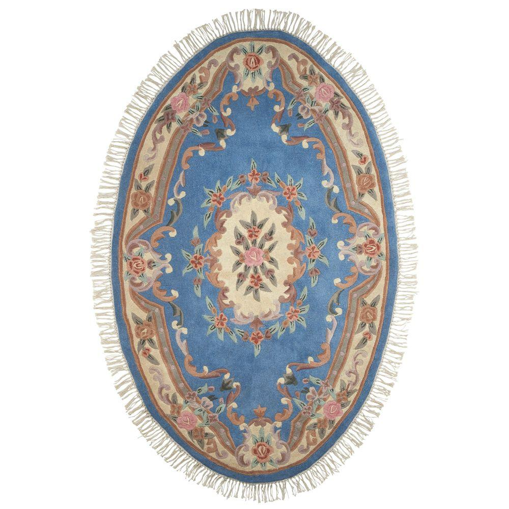 Home Decorators Collection Imperial Light Blue 5 ft. x 8 ft. Oval Area Rug