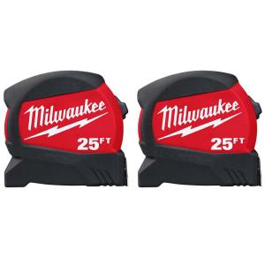 Deals on 2-Pack Milwaukee 25 ft. x 1.2 in. Compact Wide Blade Tape Measure