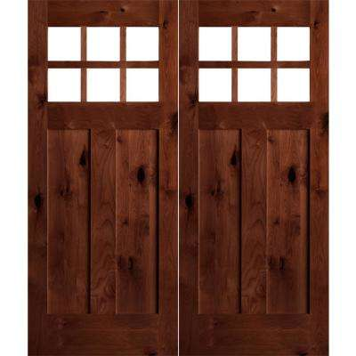 72 in. x 80 in. Craftsman Knotty Alder Wood Clear 6-Lite Red Chestnut Stain Right Active Double Prehung Front Door