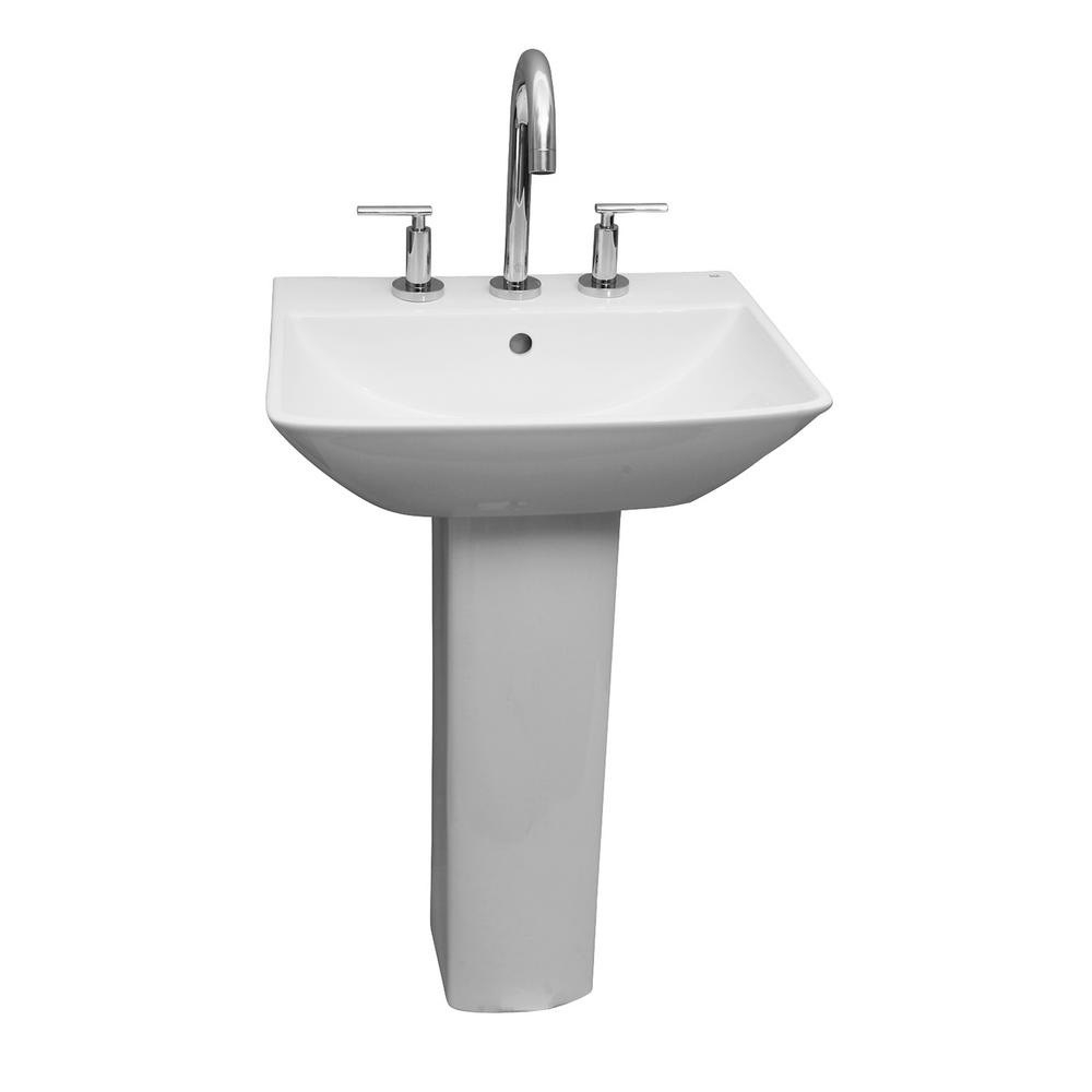 Barclay Products Summit 500 20 in. Pedestal Combo Bathroom Sink for 8 in. Widespread in White