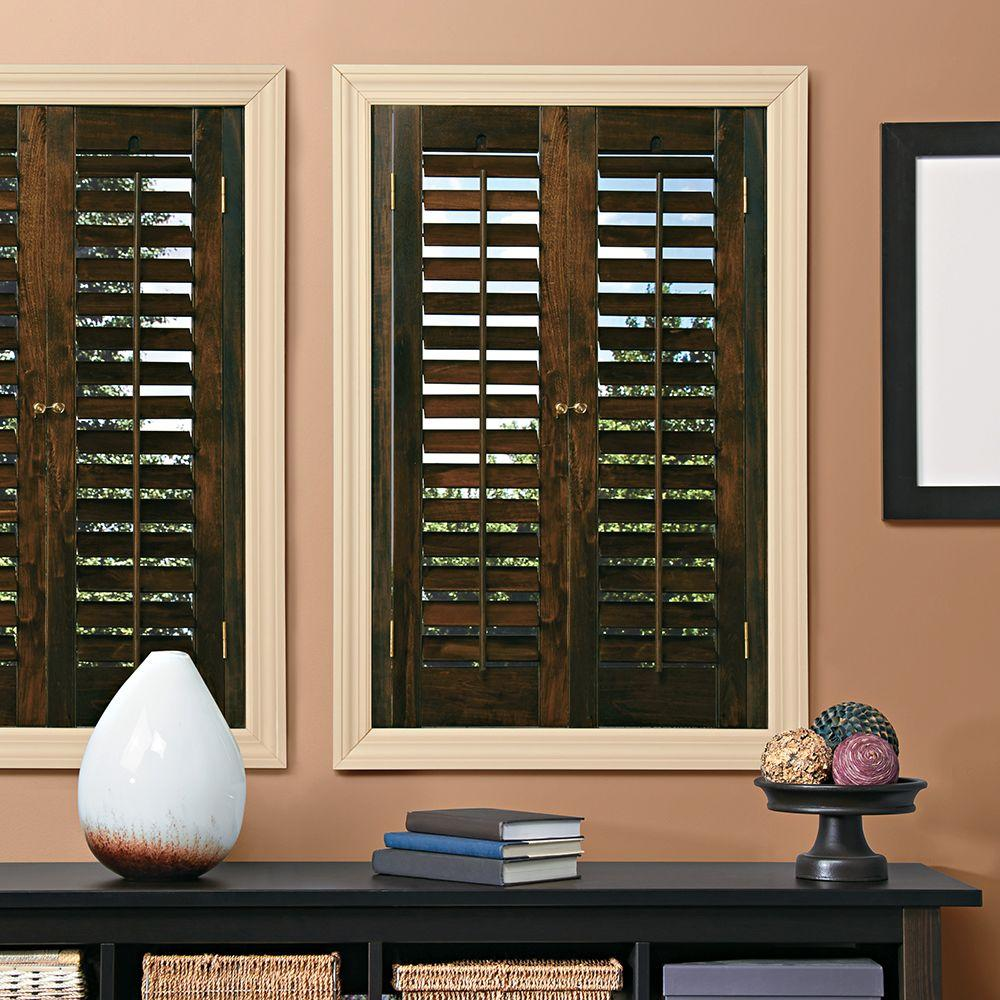 The home depot installed hardwood painted shutter for Timber shutters