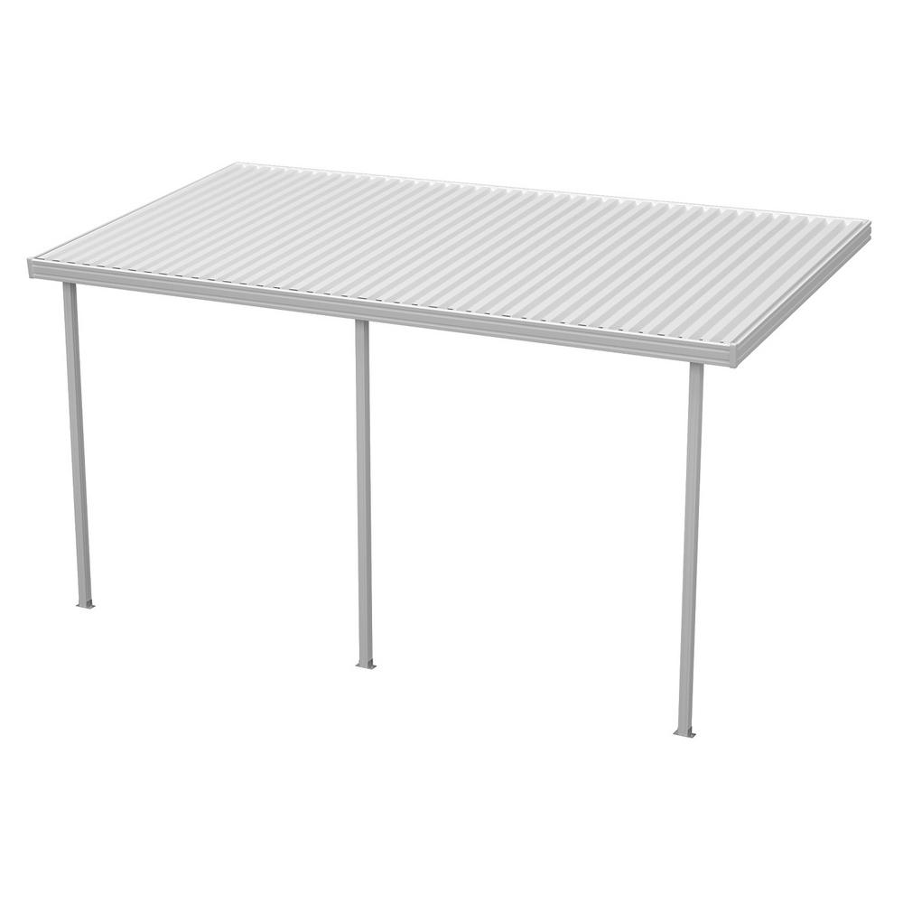 14 ft. x 8 ft. White Aluminum Attached Solid Patio Cover