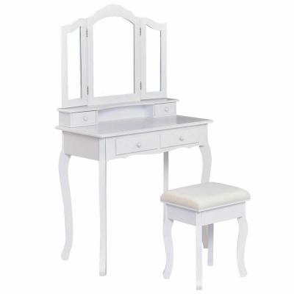 4-Drawer White Vanity Makeup Dressing Table Set W/Stool Mirror Jewelry Wood Desk