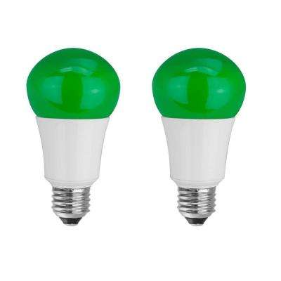 40W Equivalent A15 Household LED Light Bulbs, Green (2-Pack)