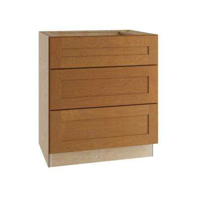 Hargrove Assembled 24x34.5x24 in. Base Cabinet with 3 Drawers in Cinnamon