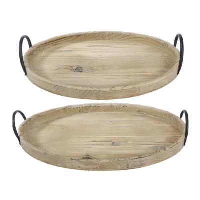 Farmers Market Wooden Natural Trays (Set of 2)