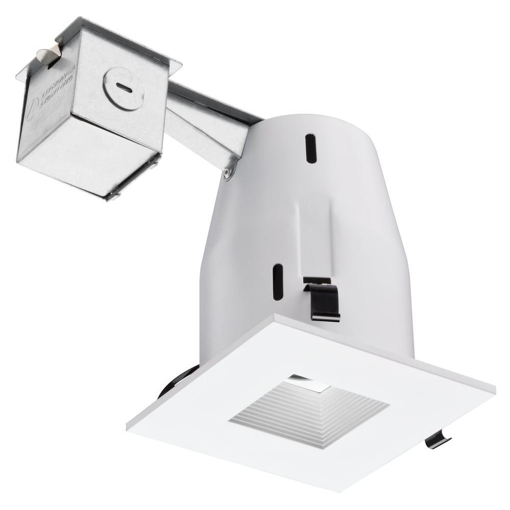 Lithonia Lighting 4 in. Recessed GU10 Matte White Square Baffle Kit  sc 1 st  The Home Depot : recessed light baffles - www.canuckmediamonitor.org