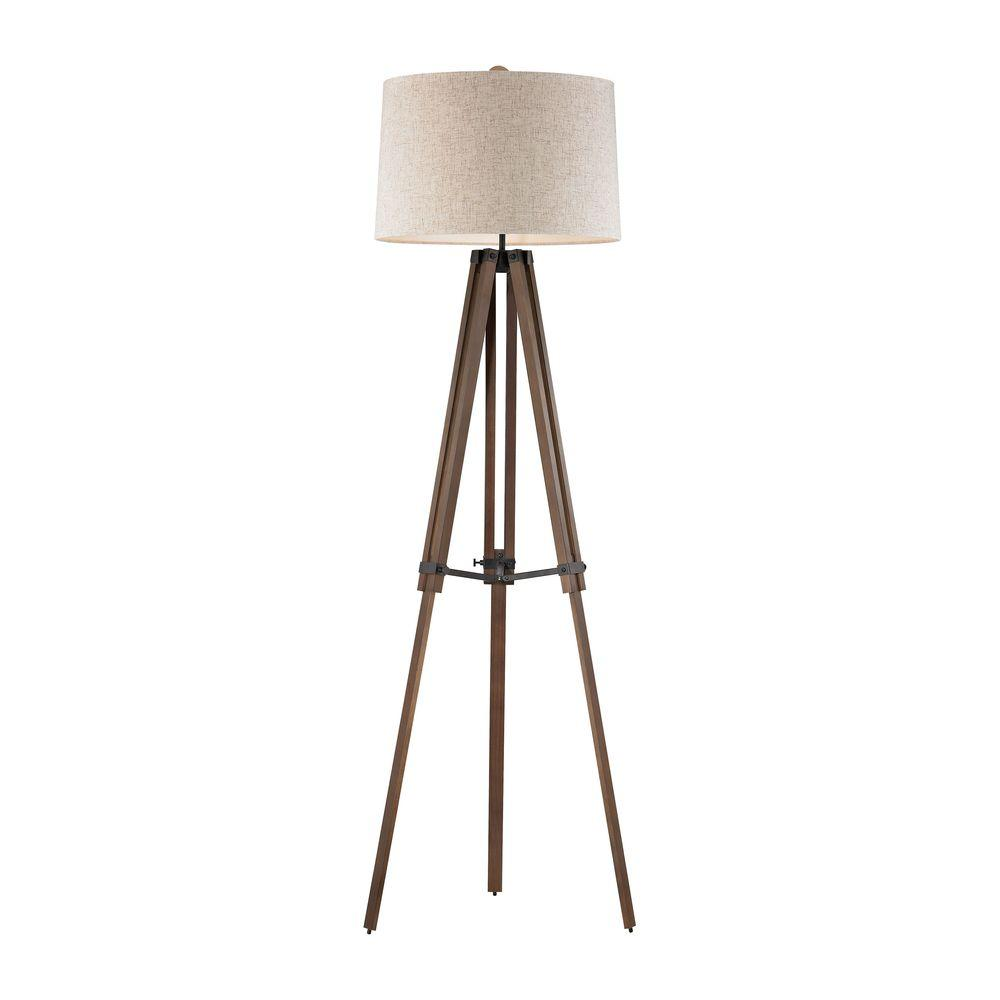 An Lighting Wooden Brace 62 In Oil Rubbed Bronze And Wood Tripod Floor Lamp