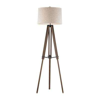 Wooden Brace 62 in. Oil Rubbed Bronze and Wood Tripod Floor Lamp