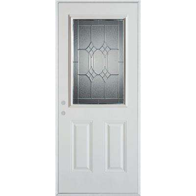 32 in. x 80 in. Orleans Patina 1/2 Lite 2-Panel Painted White Steel Prehung Front Door