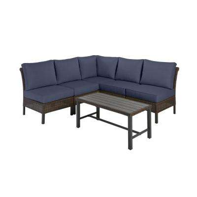 Harper Creek Brown 6-Piece Steel Outdoor Patio Sectional Sofa Seating Set with CushionGuard Midnight Navy Blue Cushions