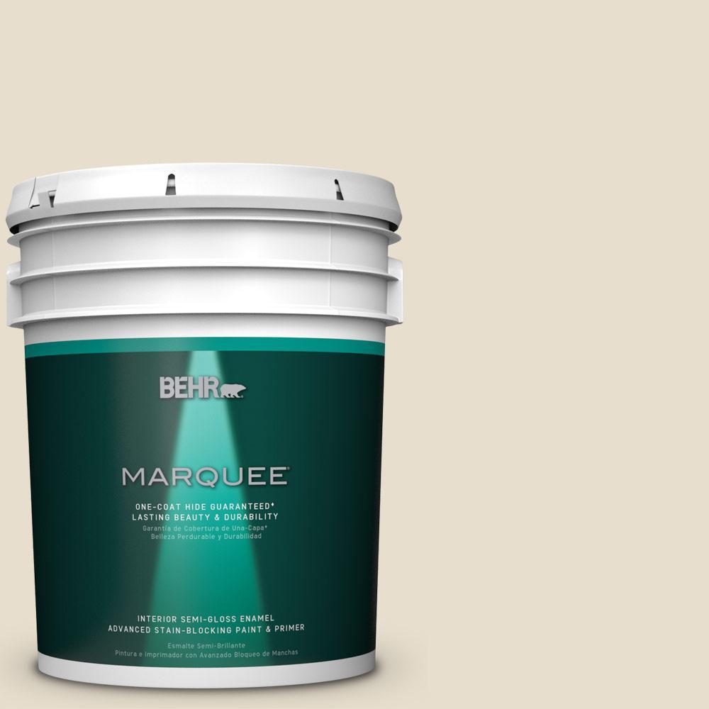 5 gal. #MQ3-12 Ivory Paper One-Coat Hide Semi-Gloss Enamel Interior Paint