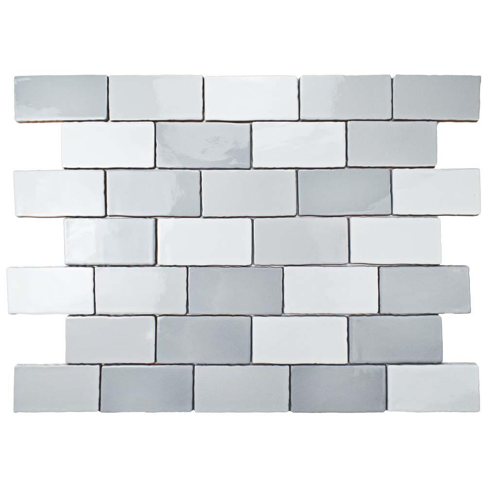 Antic Craquelle Gris Mix 3 in. x 6 in. Ceramic Wall