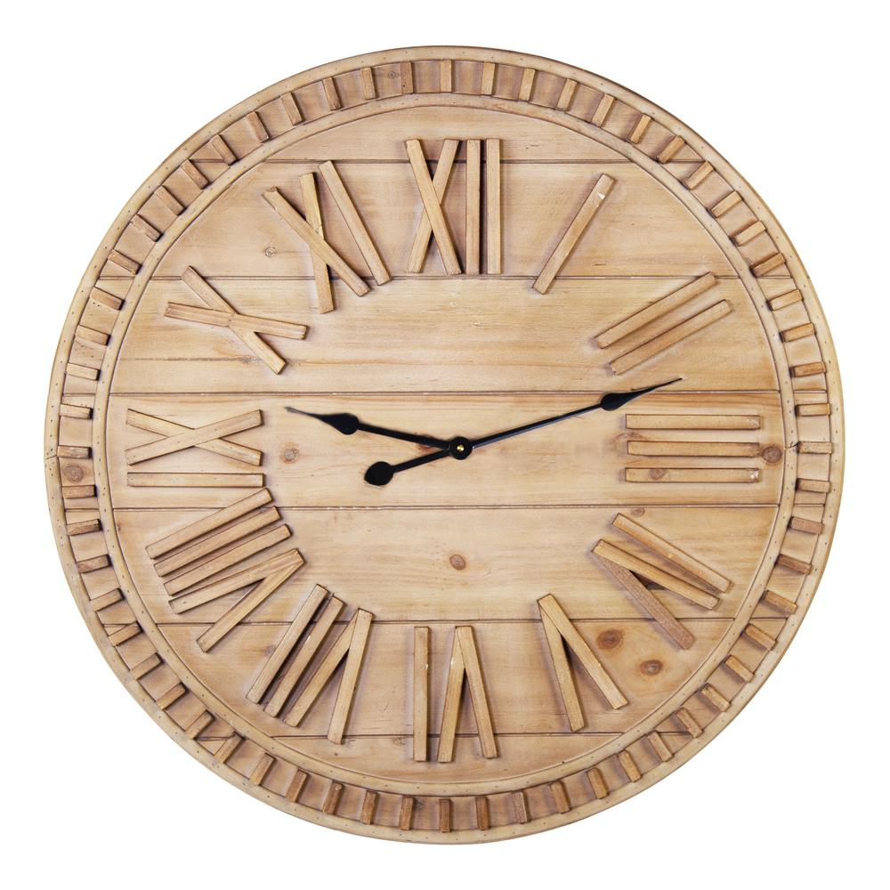 Stratton Home Decor Stratton Home Decor 31 50 Inch James Wooden Wall Clock S33490 The Home Depot
