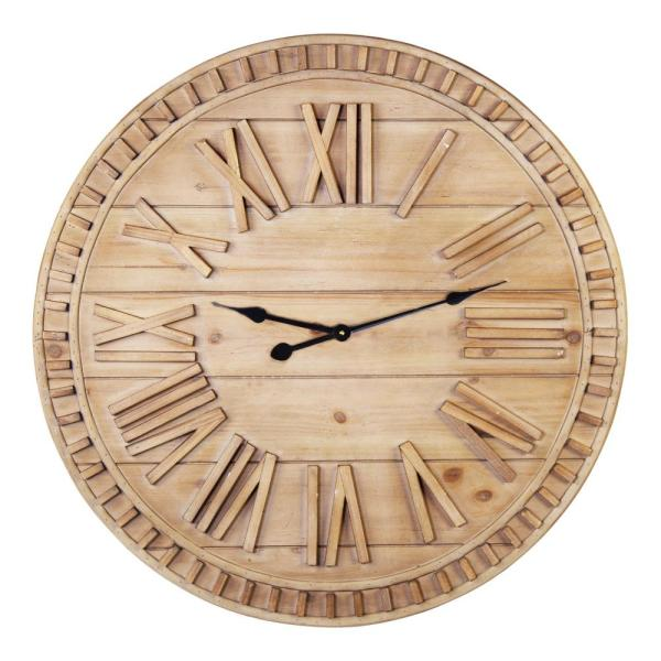 Stratton Home Decor 31.50 Inch James Wooden Wall Clock
