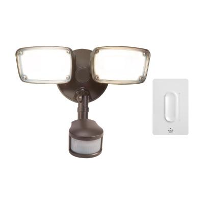 180-Degree Bronze Smart Bluetooth Tunable CCT Motion Activated Outdoor LED Flood Light and Dimmer Switch by HALO Home
