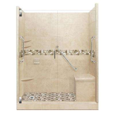 Tuscany Freedom Grand Hinged 42 in. x 60 in. x 80 in. Left Drain Alcove Shower Kit in Brown Sugar and Satin Nickel