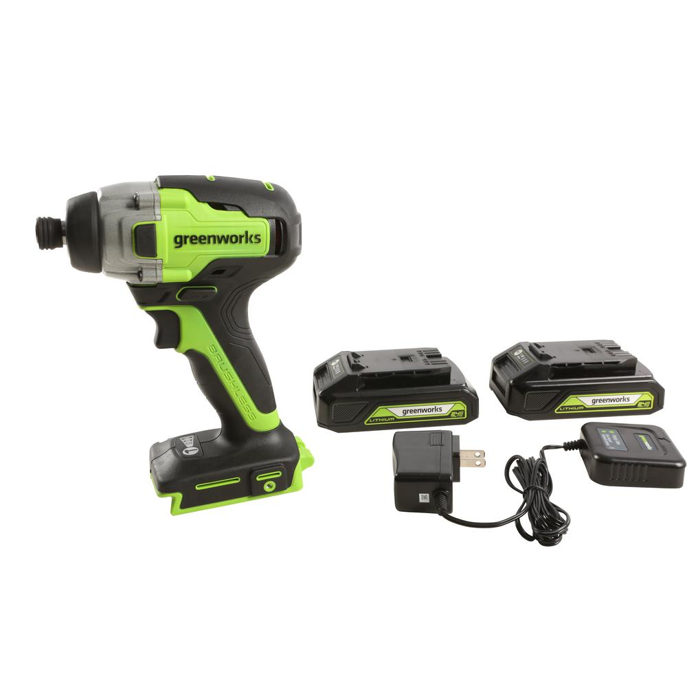 Greenworks 24-Volt Brushless Impact Driver, 2 Batteries - Charger Included ID24L1520