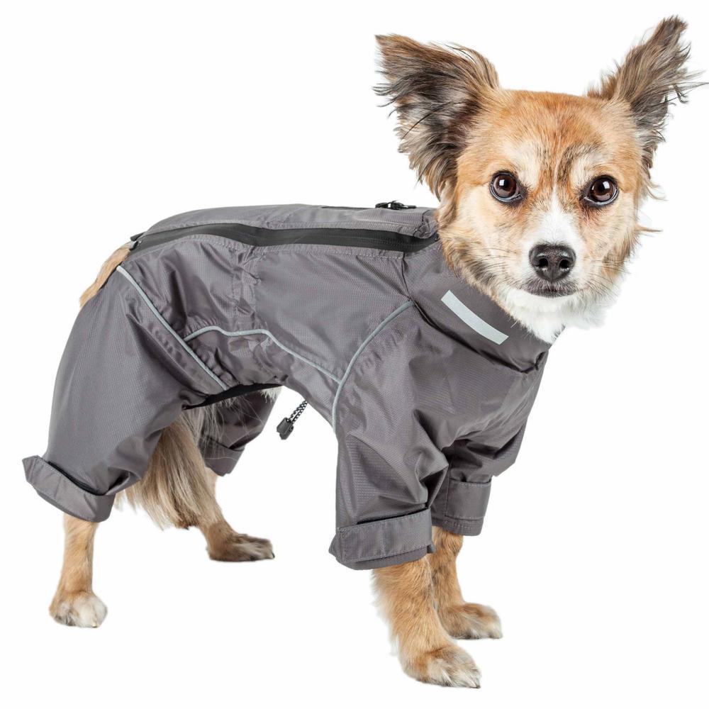 X-Small Grey Hurricanine Waterproof and Reflective Full Body Dog Coat Jacket