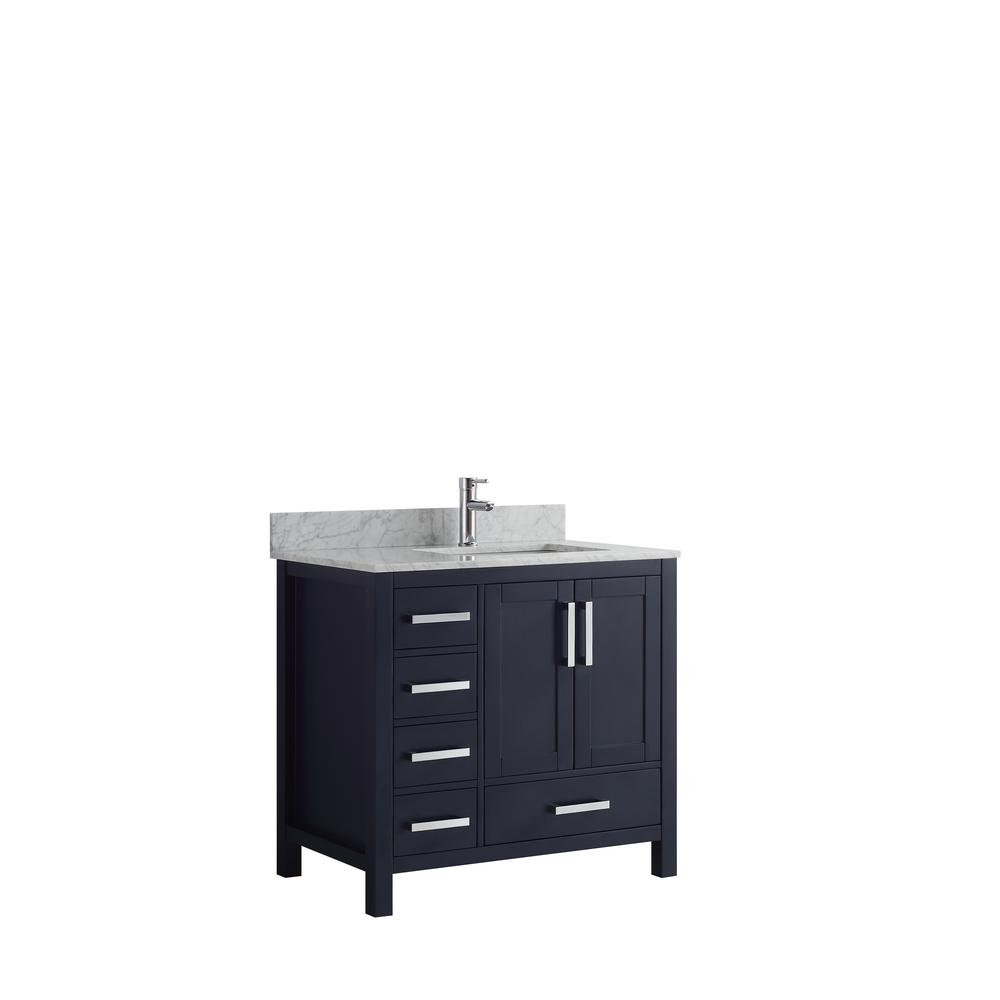 Lexora Jacques 36 in. Navy Blue Single Vanity Top Left White Carrera Marble White Square Sink and No Mirror Left