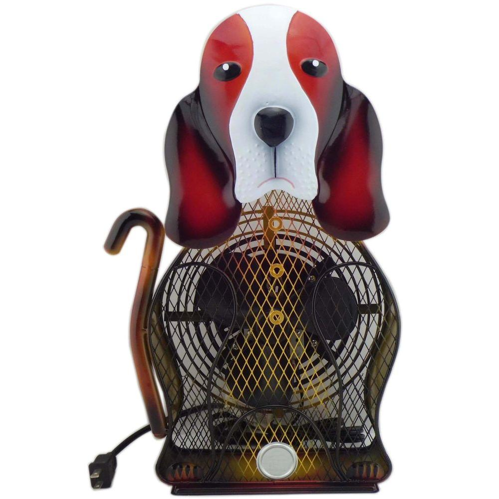 null 9 in. Himalayan Breeze Decorative Basset Hound Table top Fan (Large)