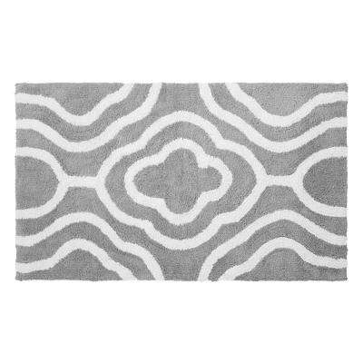 Reversible Cotton Soft Giri Gray 21 in. x 34 in. Bath Mat