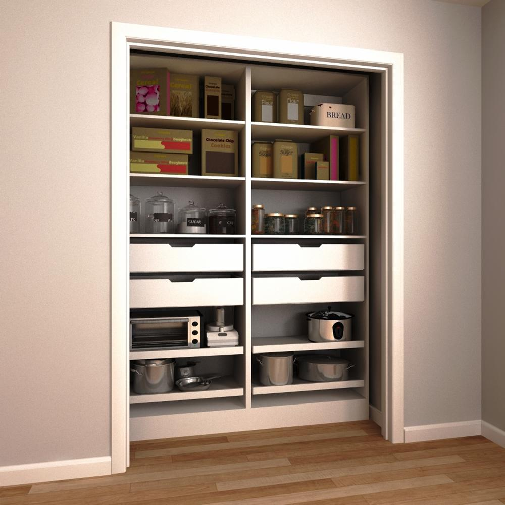 Modifi 60 In W X 15 In D X 84 In H Melamine Pantry Organizer Kit In White Enpc60a Pw The