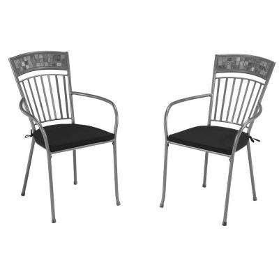 Glen Rock Marble Patio Dining Chair with Black Cushion (Set of 2)