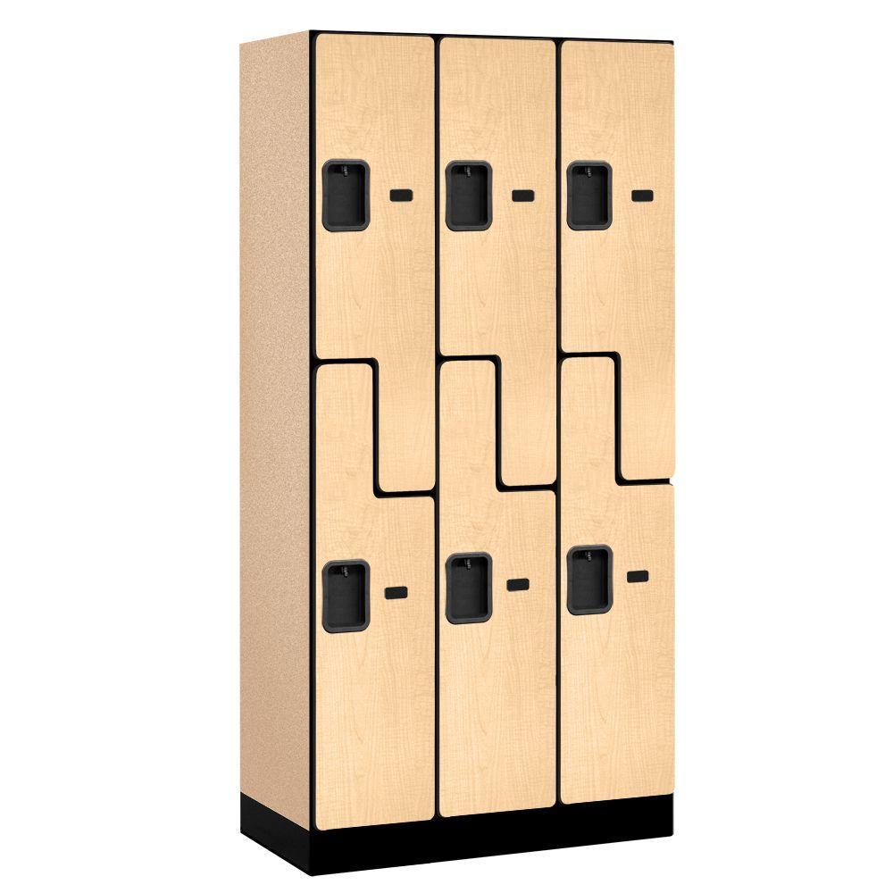 37000 Series 36 in. W x 76 in. H x 18 in. D 2-Tier S-Style Designer Wood Locker in Maple