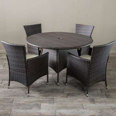 Rodgers Multi-Brown 5-Piece Wicker Outdoor Dining Set