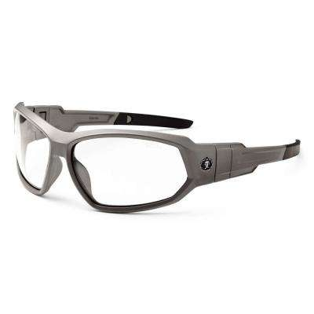 Skullerz Loki Matte Gray Anti-Fog Safety Glasses / Goggles, Clear Lens - ANSI Certified