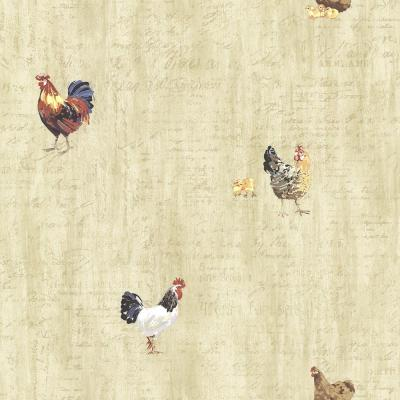 Lisle Wheat Roosters and Script Wallpaper