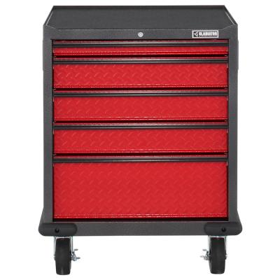 Premier Series Pre-Assembled 35 in. H x 28 in. W x 25 in. D Steel 5-Drawer Rolling Garage Cabinet in Racing Red Tread