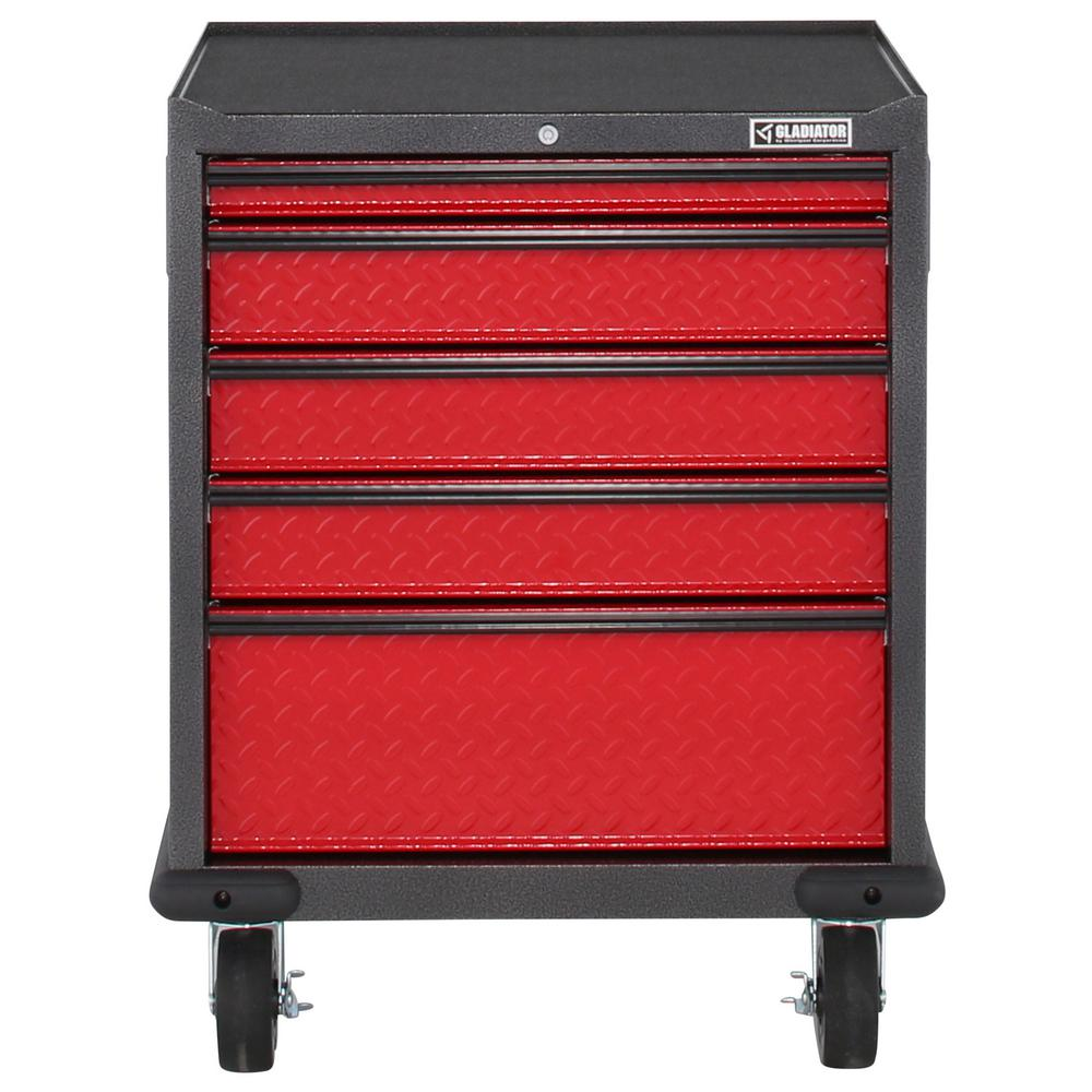 Gladiator Premier Series Pre-Assembled 35 in. H x 28 in. W x 25 in. D Steel 5-Drawer Rolling Garage Cabinet in Racing Red Tread