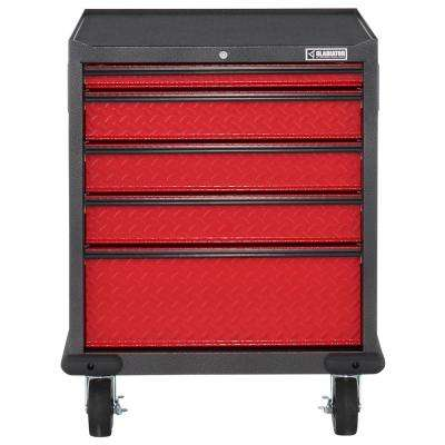 Premier Series Pre-Assembled 35 in. H x 28 in. W x 25 in. D Steel 5-Drawer Rolling Garage Cabinet in Red Tread