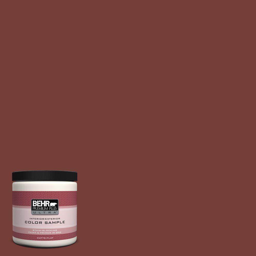 BEHR ULTRA 8 oz  #BXC-76 Florence Red Matte Interior/Exterior Paint and  Primer in One Sample