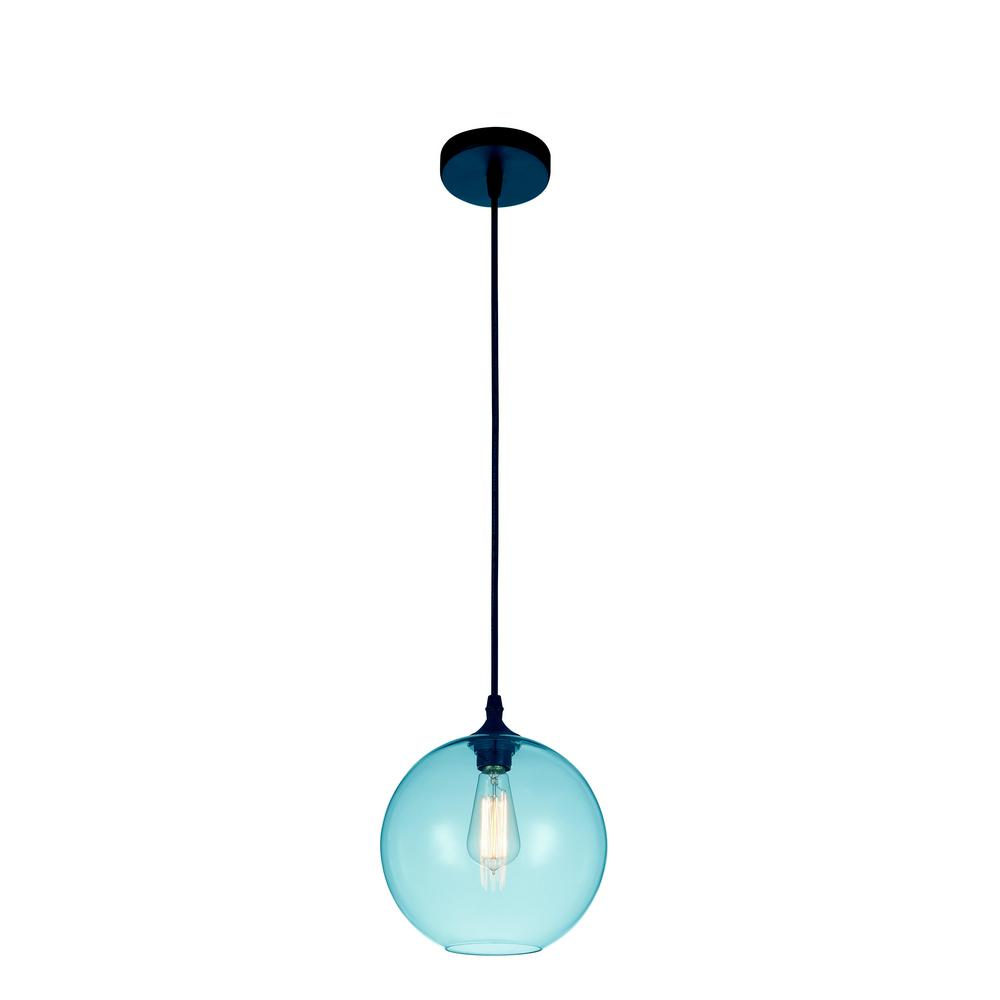 Glass 1-Light Transparent Blue Pendant