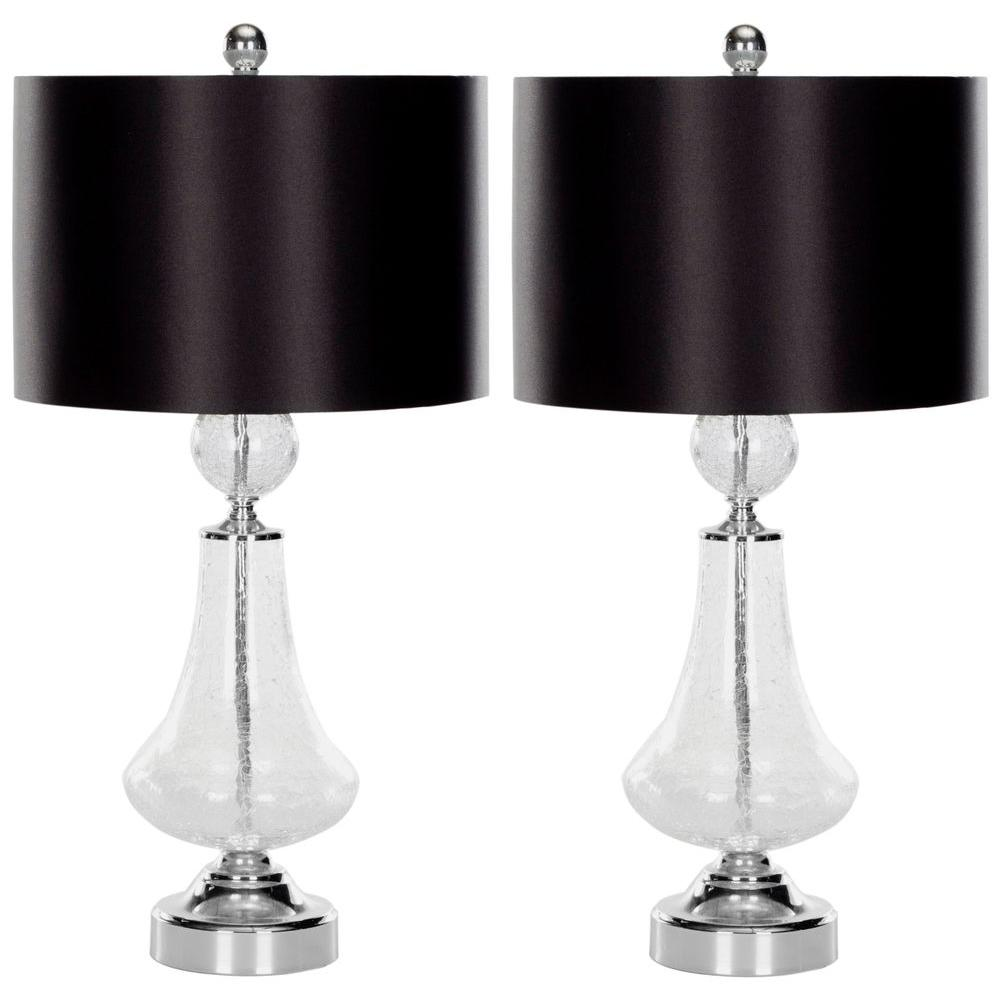 Safavieh Mercury 24 In Clear Crackle Glass Table Lamp With Black Satin Shade Set Of 2 Lit4047a Set2 The Home Depot