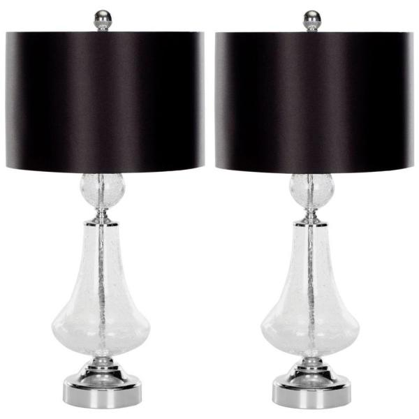 Safavieh Mercury 24 In Clear Crackle Glass Table Lamp With Black